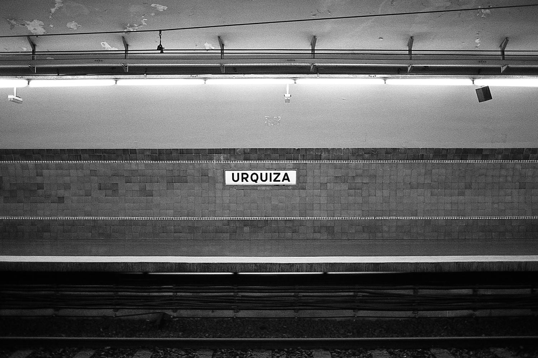 """Urquiza"" station, ""E"" line."