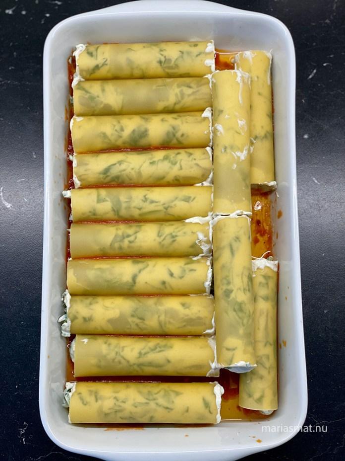 Cannelloni med ricotta och färsk spenat