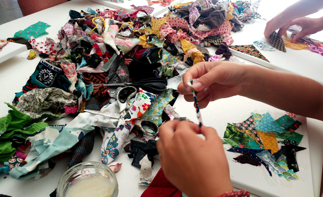 atelier collage tissu recycling