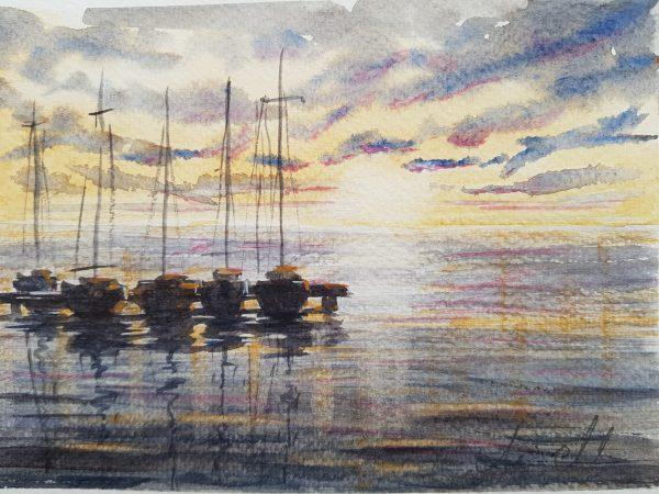 Segelbåtar, hav, solnedgång