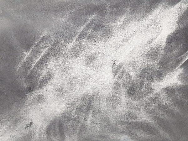 Akvarell, abstrakt, granulaition,