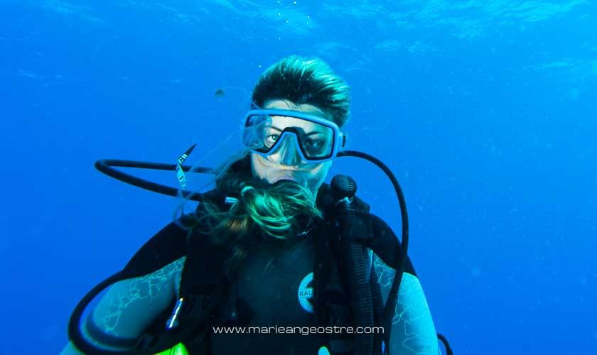 Brésil, plongée Fernando de Noronha Marie-Ange Ostré et salpe © Francis Le Guen