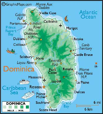 Carte de la Dominique