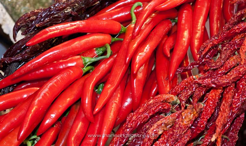 Espagne, piments au marché de La Boqueria à Barcelone © Marie-Ange Ostré