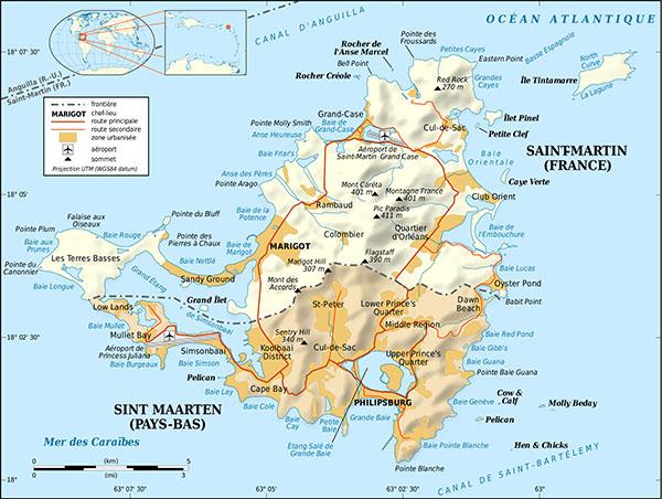 Carte de l'île Saint-Martin