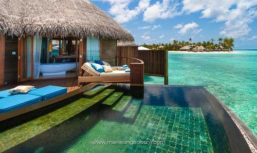 Maldives, hôtel Halaveli Resort, villa sur pilotis © Marie-Ange Ostré