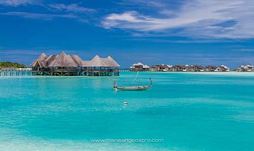 Maldives, le lagon de l'hôtel Soneva Gili (rebaptisé depuis Lankanfushi) © Marie-Ange Ostré