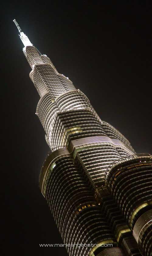 Dubai de nuit, la tour Burj Khalifa © Marie-Ange Ostré