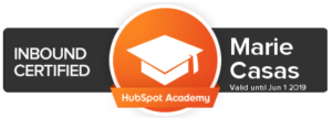 Marie Casas Certification Inbound Marketing Hubspot