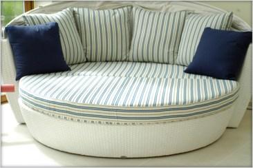 Garden pool furniture Sentosa Ottoman with Ralph Laren bespoke cushions