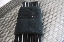 Black dimante towels at Marie Charnley Interiors