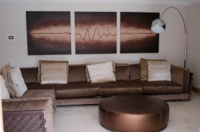 Bubble Lamp and bespoke picture by wall pix at Marie Charnley Interiors