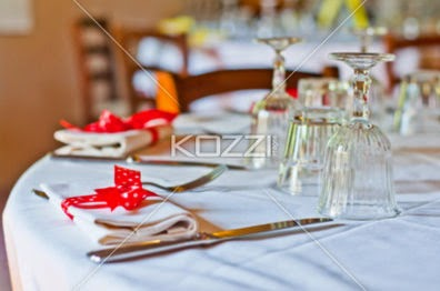 Table Set With Red Bow With White Spots