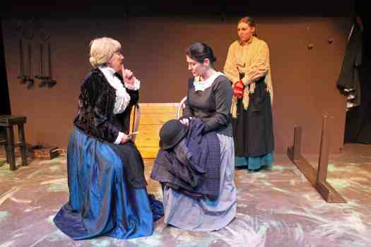 Photograph of Mrs Lane, Mrs Macey and Laura Timms in the Post Office during Candleford at Sewell Barn Theatre
