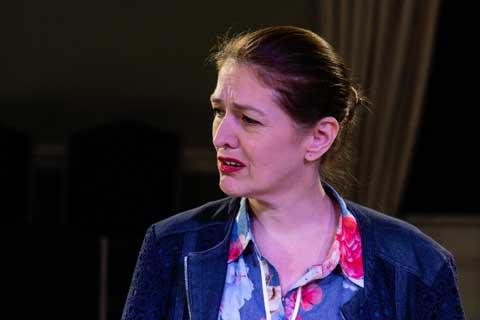 Norfolk actor Marie Cooper playing Ann Wingate in Murder in Neighbourhood Watch. Ann upset