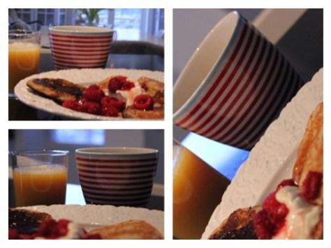 Collage frukost pannkakor