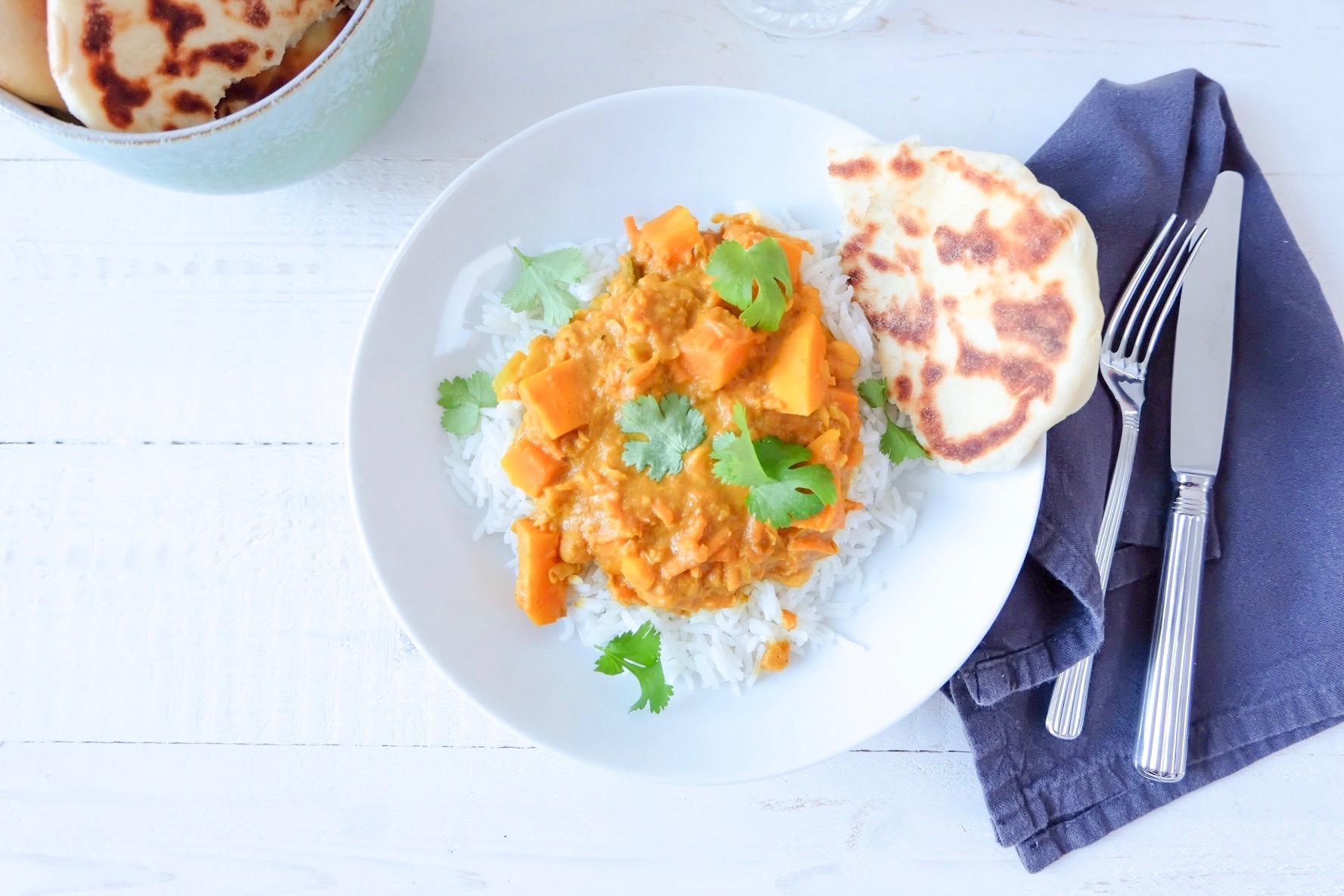 Curry de potimarron & ses naan