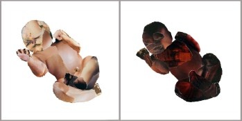 Collages witte en bruine baby
