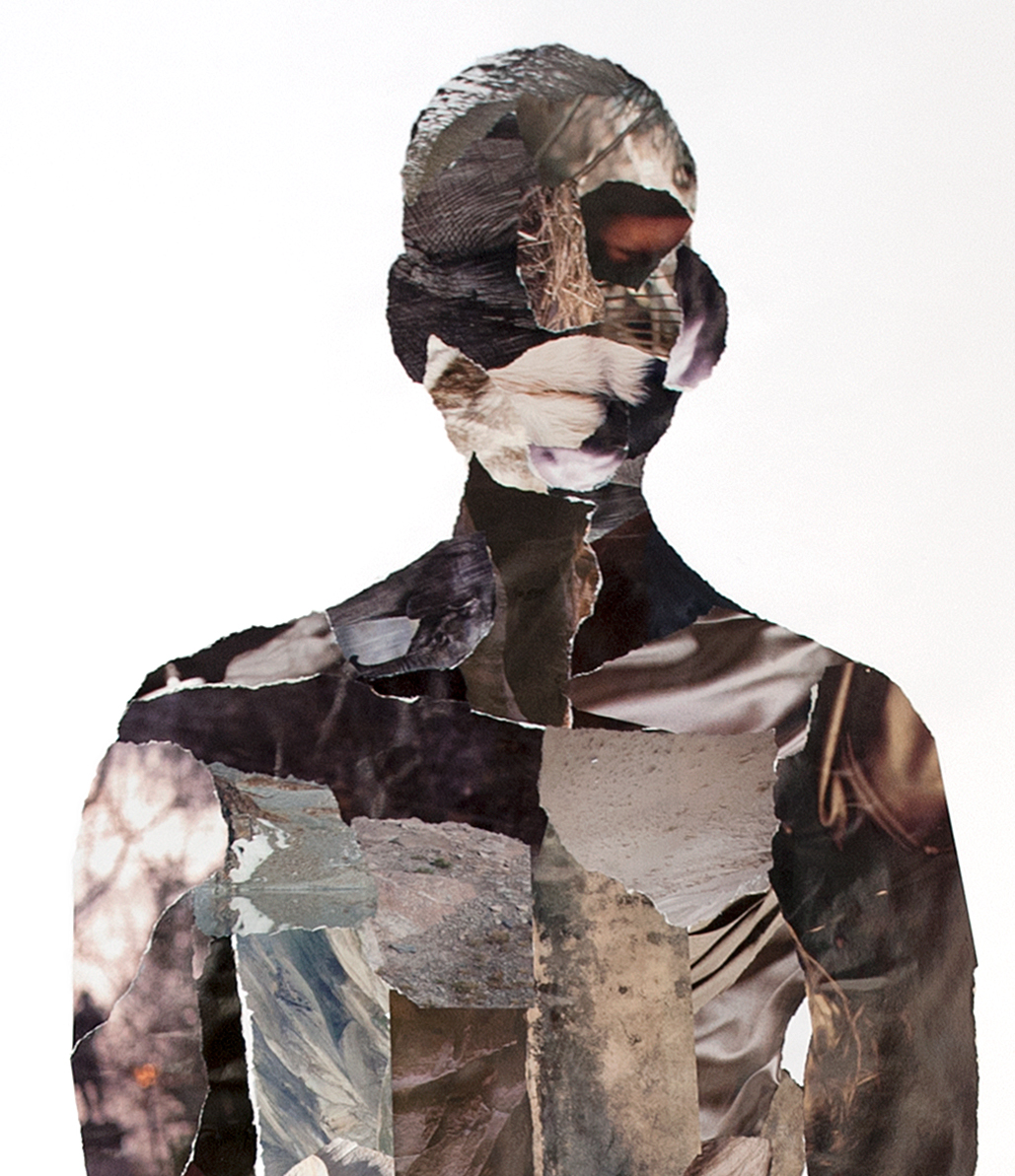 Collage staande man, detail