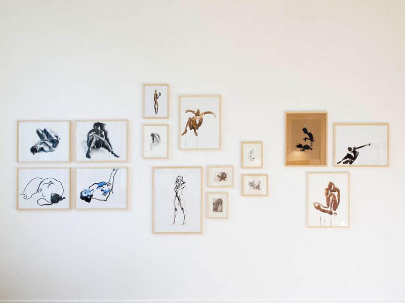 Overzicht tekeningen Marieke van der Velden in Galerie Lokaal WV15