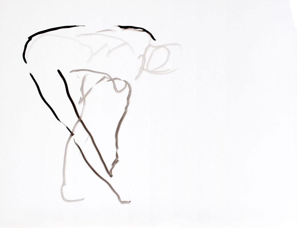 tekening bukkende vrouw, inkt