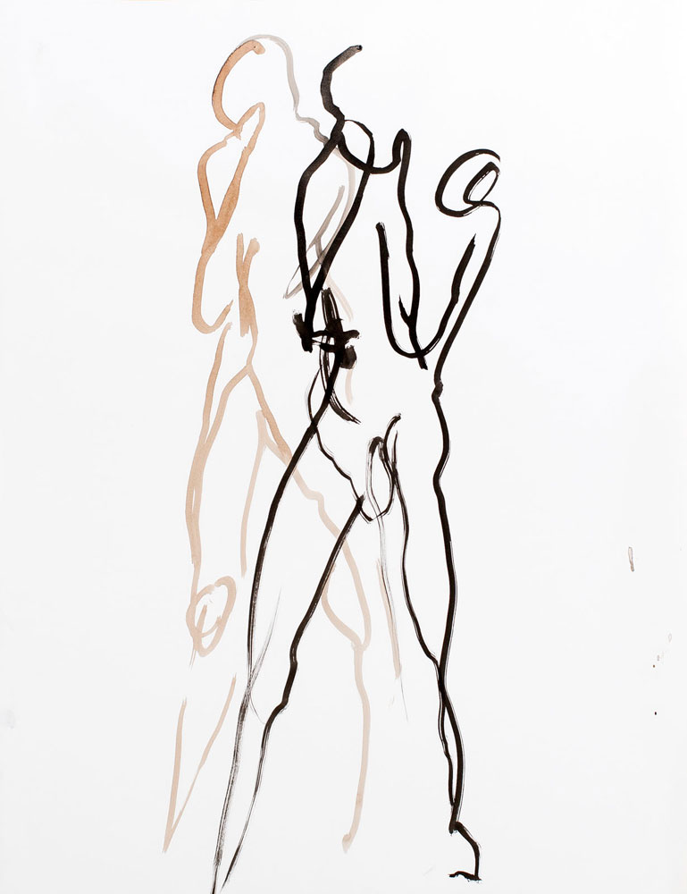 tekening staande vrouw, inkt en bister