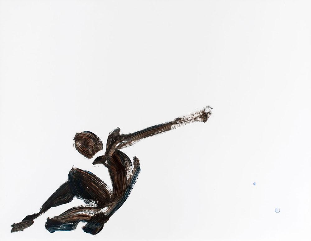 tekening man met arm gestrekt, acryl