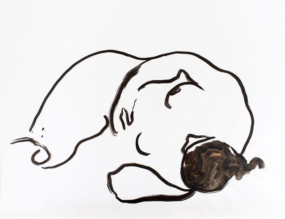 tekening liggende vrouw, inkt