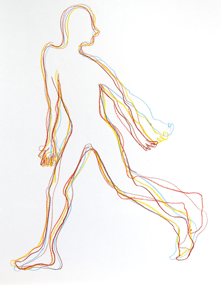 Tekening lopende figuur, krijt