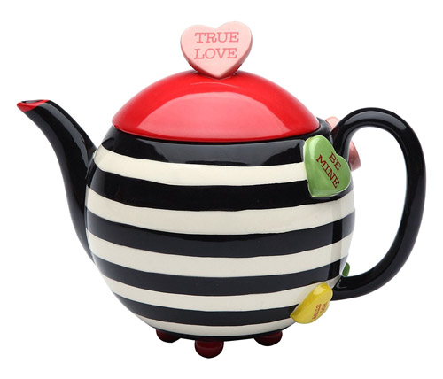 Porcelain Valentine Striped and Heart True Love Teapot Server