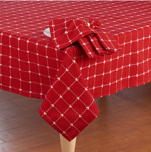 Valentines Day Red White Embroidered Hearts Cotton Fabric Tablecloth