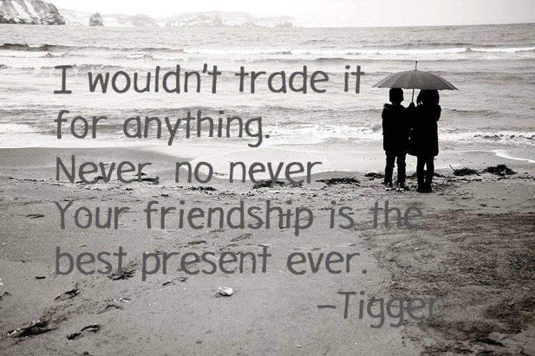 I wouldn't trade it for anything. Never, no never. Your friendship is the best present ever. –Tigger