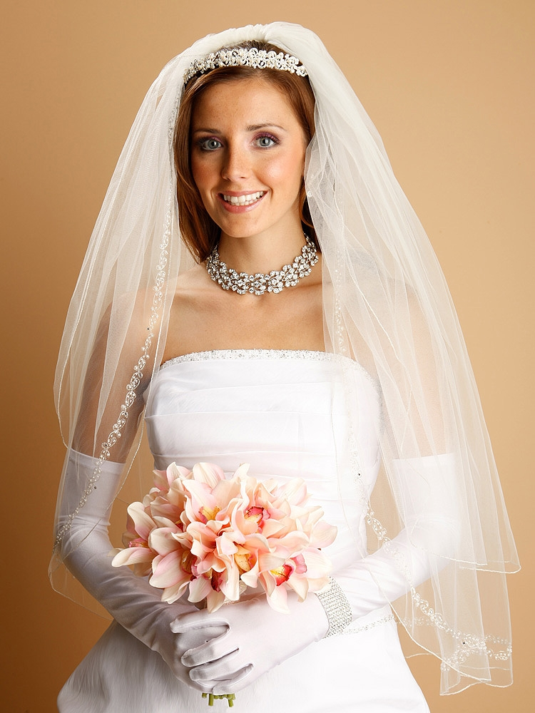 Wholesale Bridal Veil With Swarovski Crystals Beads And