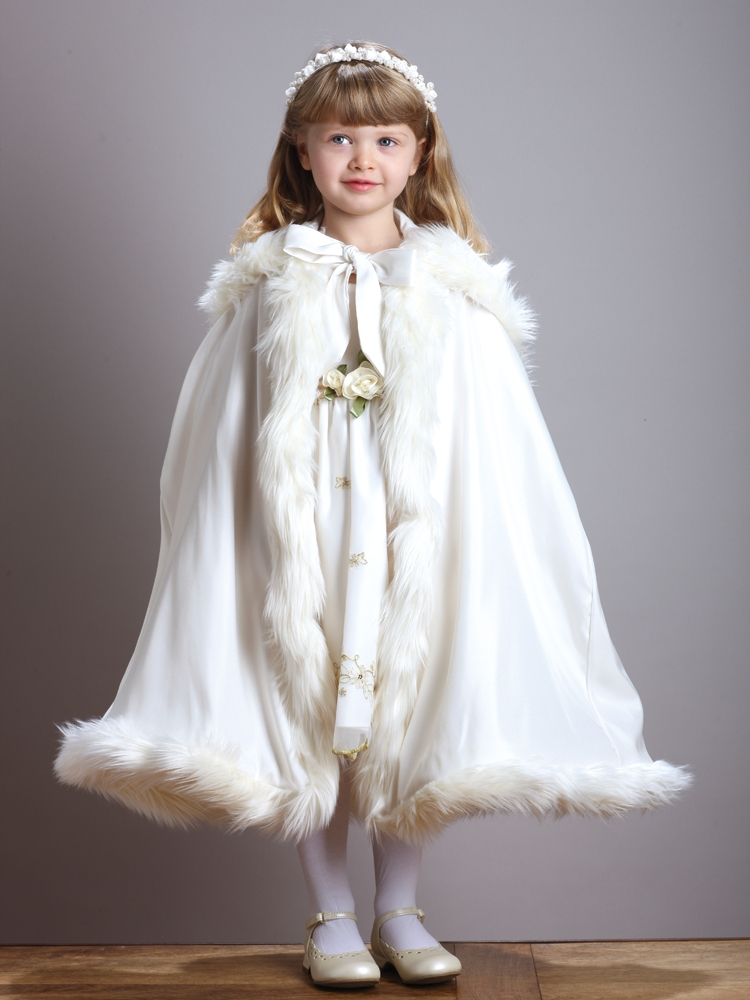 Childrens Ivory Hooded Satin Cloak With Faux Fur Trim