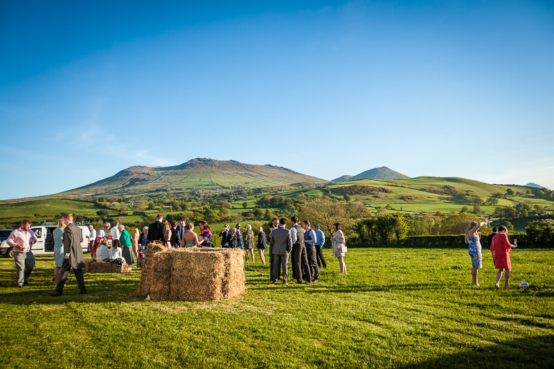 Hay bales outside a marquee