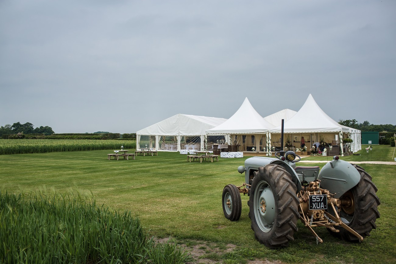 arm wedding marquee and tractor