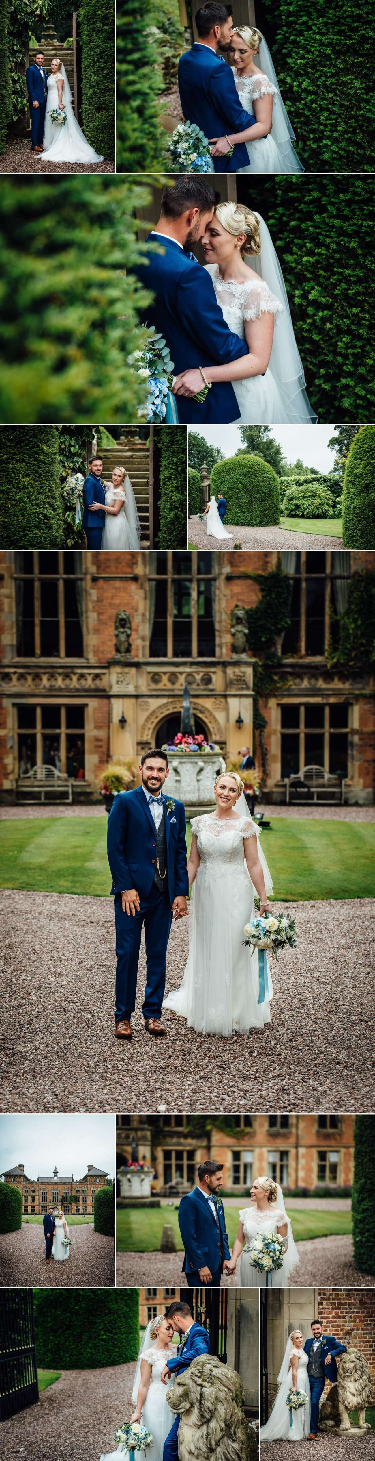 Wedding photography portraits in Soughton Hall wedding gardens