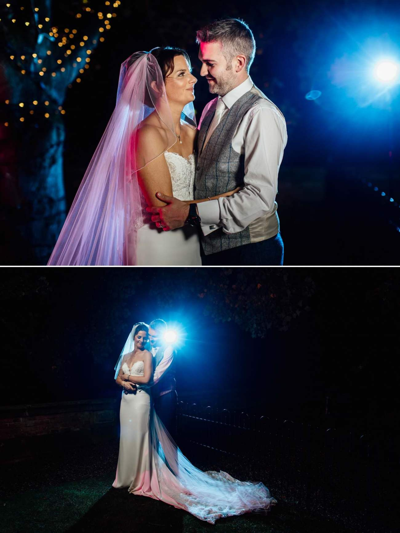 Evening wedding portraits at Iscoyd Park