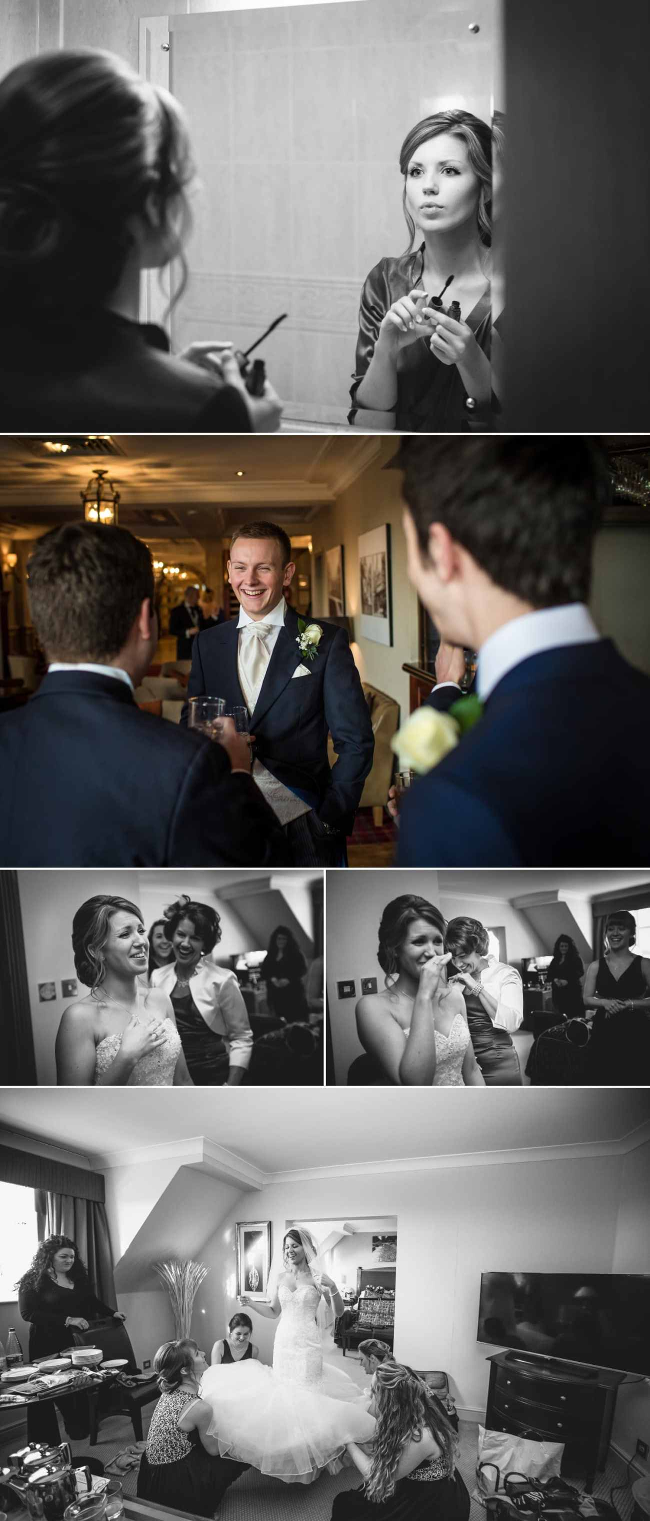 Wedding photography of the bride getting ready at Carden Park, Chester, Cheshire