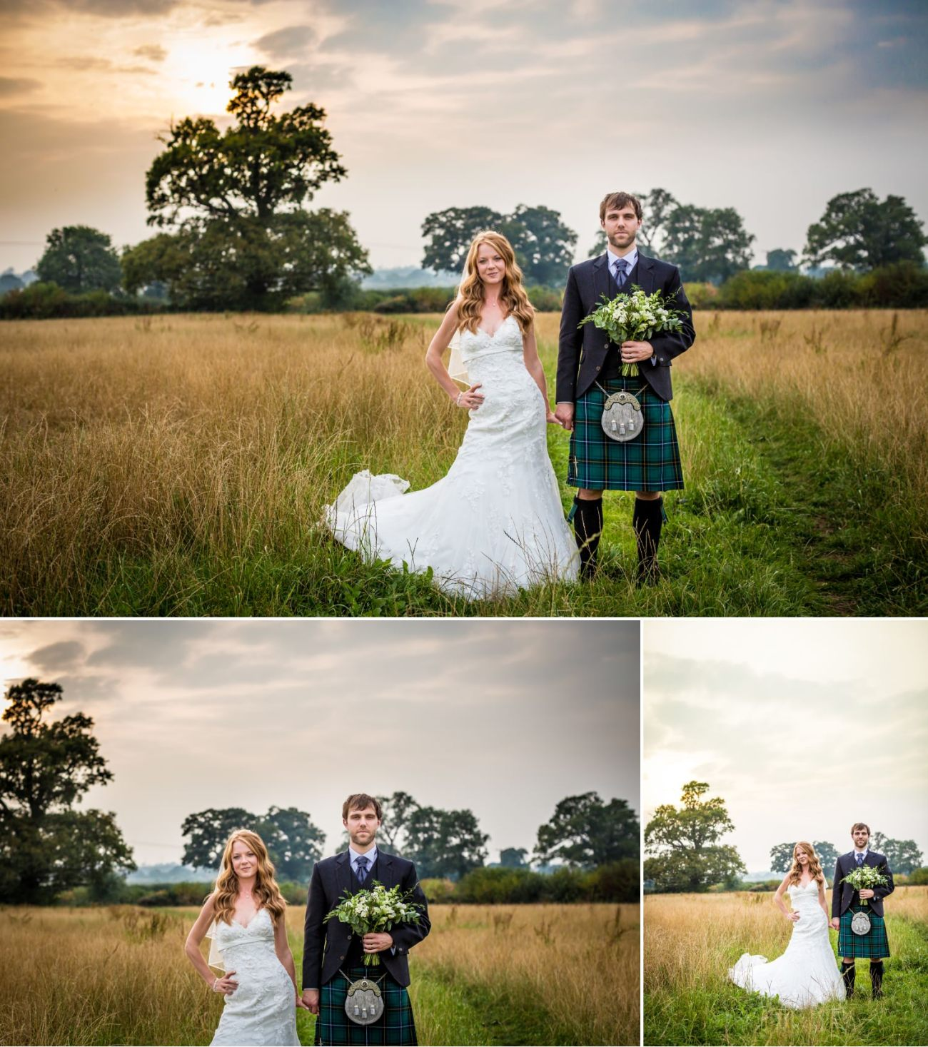 Wedding sunset pictures at Cheshire venue, Hundred House Hotel