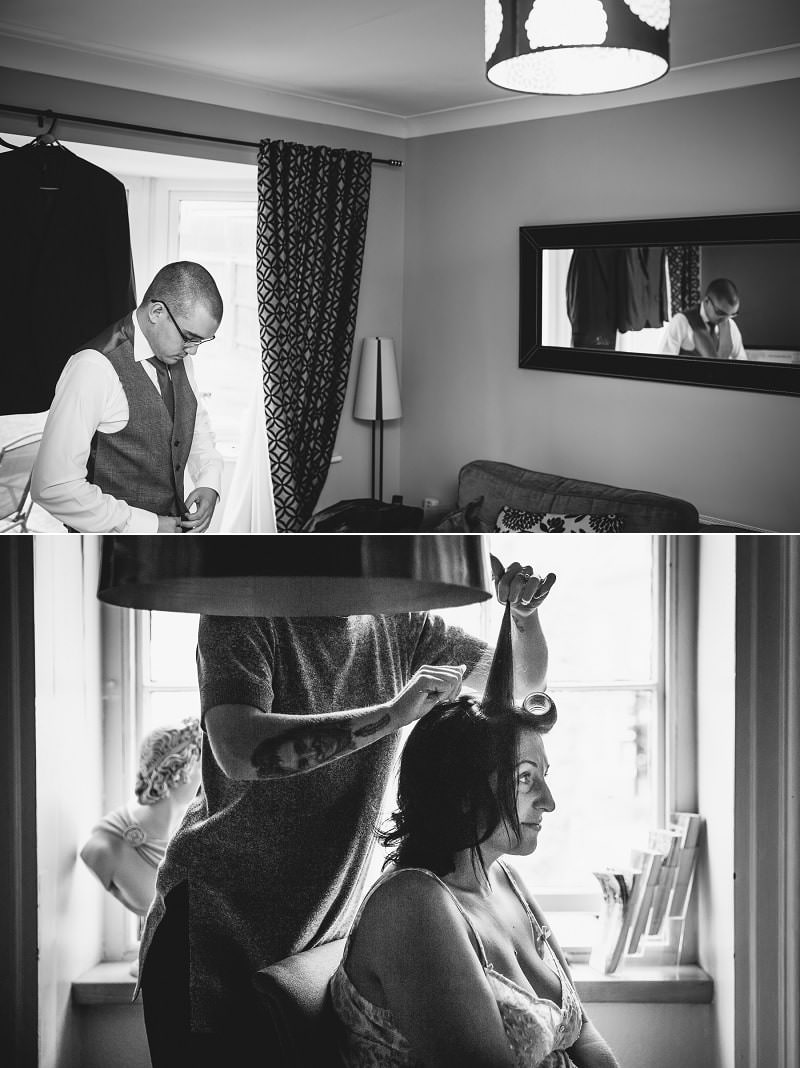 Wedding photography of bride getting ready in North Wales