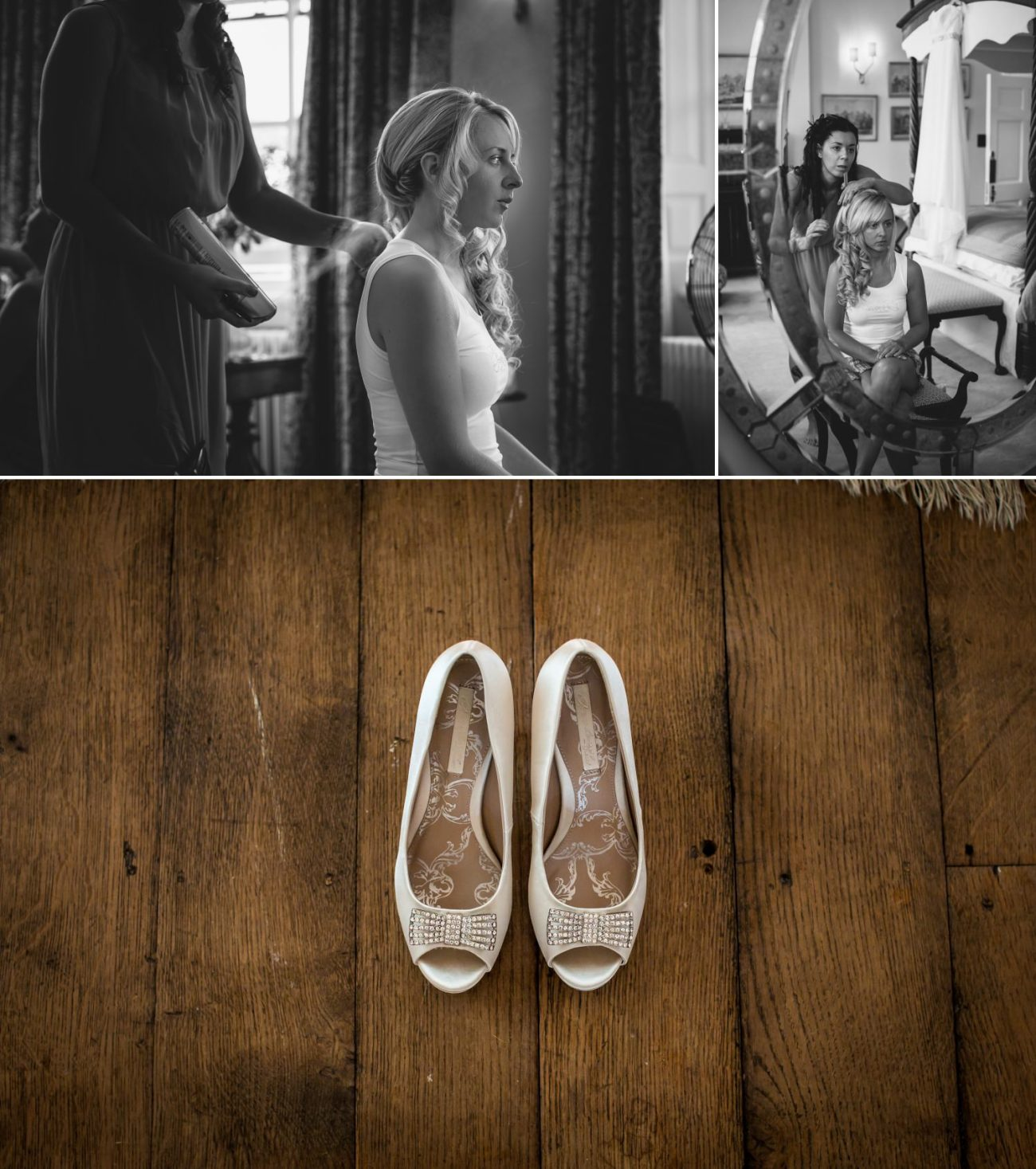 Wedding Photography of bride getting ready at Iscoyd Park, Wrexham