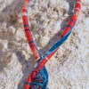les Intemporels- ENTRELACS ENSOLEILLES – détail 2-printemps été- Coton, velours perles cristal swarovski –fermoir crochet-41 cm
