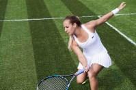 Dominika Cibulkova wearing Lacoste at Wimbledon