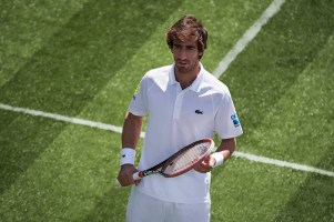 Pablo Cuevas wearing Lacoste at Wimbledon 2017