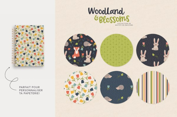 Woodland and Blossoms - Collection de motifs + papeterie