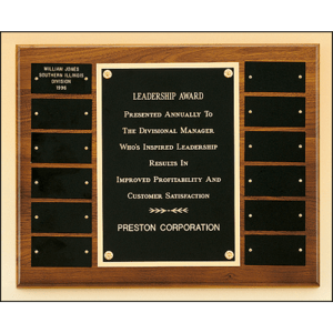 Walnut Perpetual Plaque with Black Plates Marietta Trophy