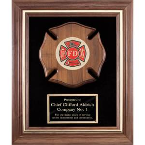 Walnut Frame Plaque of Firefighter Department Symbol AT1