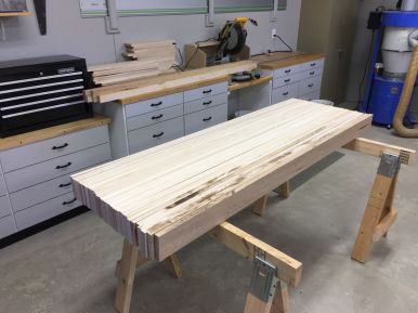 Top boards cut to width and length plus a bit extra.