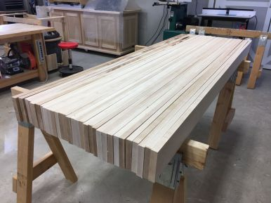 "A rough idea how the 4"" x 24"" x 72"" top will look once it's all glued up."